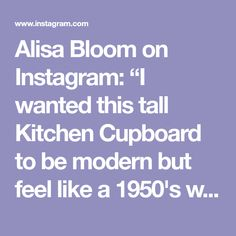 """Alisa Bloom on Instagram: """"I wanted this tall Kitchen Cupboard to be modern but feel like a 1950's wardrobe. I designed it in metal but put a light blue powder…"""" Joinery Details, Kitchen Cupboards, 1950s, My Design, Things I Want, Light Blue, Powder, Bloom, Feelings"""