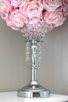 Silver Bling Rhinestone Flower Ball Stand OR by KimeeKouture