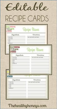 Real Food Recipe Cards: DIY, Editable - The Healthy Honeys #printable #recipe