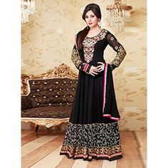 Arresting Black Georgette Salwar Kameez Comes With blackColor Santoon Bottom, black Color nazmeen Dupatta. It contained the work of Zari,resham embroidery with Lace border. The Suits Which can be customzied up to bust size 42