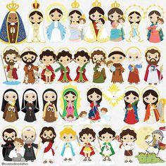 36 Saints clipart bundle baby saints clipart little saints Saint Michael, Saint Christopher, Clipart, Doodles Bonitos, Sainte Rita, St Rita Of Cascia, Clare Of Assisi, St Catherine Of Siena, Saint Gabriel