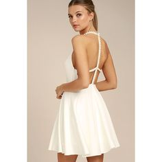 Adore You White Pearl Skater Dress ($66) ❤ liked on Polyvore featuring dresses, white, stretch dresses, high neck skater dress, white day dress, skater skirt dress and white strappy dress