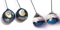 Galaxies and Ammonites Handmade lampwork glass headpin by Genea, $36.00