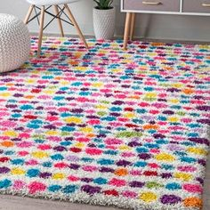 Shop for nuLOOM Contemporary Bohemian Inspire Striped Dots Shag Multi Rug (5' x 8'). Get free shipping at Overstock.com - Your Online Home Decor Outlet Store! Get 5% in rewards with Club O! - 22526105