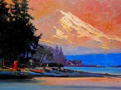 """Daily Paintworks - """"Mount Rainier Sunset view from Point White. landscape, oil painting by Robin Weiss"""" - Original Fine Art for Sale - © Robin Weiss Media: oil Size: 18x24 in"""