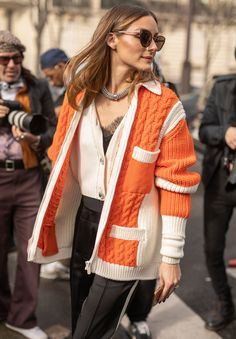 Olivia Palermo is seen on the street attending MIU MIU during Paris Fashion Week wearing MIU MIU orange sweater and black pants on March 05 How To Make Jeans, How To Wear, Fall Winter Outfits, Winter Fashion, Paris Fashion, Celebrity Outfits, Celebrity Style, Mode Outfits, Fashion Outfits