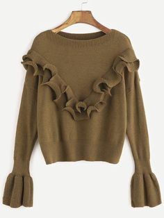 Khaki Drop Shoulder Bell Sleeve Ruffle Trim Sweater — 0.00 € ----color: Khaki size: one-size