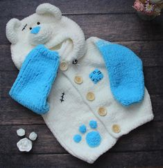 This item is not available - Kıyafet Seçenekleri/Clothes - Cute and playful bear in jacket with bear ears from a bell. Baby Knitting Patterns, Knitting Yarn, Free Knitting, Crochet Patterns, Pull Bebe, Baby Pullover, Crochet Baby Clothes, Crochet For Boys, Baby Sweaters