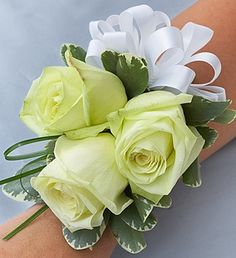 Beach Wedding Corsage -  White Roses by Houston Florist Sicola's