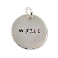"""Message Charm~Necklace (Circle) 3/4"""" $69.00 Our artists will handstamp any letters and numbers on your charm"""