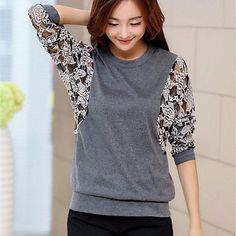 Women's Casual Micro Elastic Regular T-shirt (Lace/Knitwear) Sewing Clothes Women, Diy Clothing, Kleidung Design, Sewing Blouses, Make Your Own Clothes, Altering Clothes, T Shirt Diy, Diy Fashion, Blouse Designs