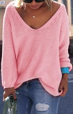 pink deep-v sweater