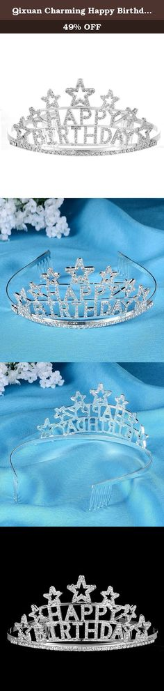Qixuan Charming Happy Birthday Rhinestone Heart Flower Design Tiara Crown Headband Comb Pin Happy Birthday Tiaras (White). 【DESCRIPTION】- The tiara is an large elegant and beautiful ladies Party crown headband tiara. With the shining rhinestones on the tiara, it is a very charming and outstanding hair accessory when you are at a wedding, or for pageant, party, prom, pageant, dances, performances, Bridal, Pageant, Wedding, Princess ect. 【USE】- Children & Adults 【Crown size (W*L*H)】…