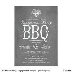 Chalkboard BBQ | Engagement Party Invitation