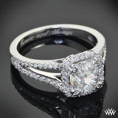Custom 14k White Gold Diamond Engagement Ring | 28901