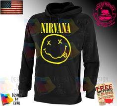 Nirvana NEW HOODIE Smiley Face Rock Band Sweatshirt Hoody CIT on Etsy, $24.00