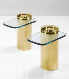 Karl Springer; Brass and Glass Side Tables, c1970.