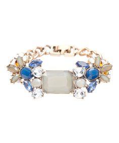 Love this Blue Crystal & Goldtone Deco Gray Bracelet on #zulily! #zulilyfinds