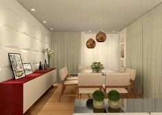 Sala de Estar e Jantar - RJ: Salas de jantar translation missing: br.style.salas-de-jantar.moderno por Konverto Interiores + Arquitetura