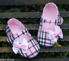 8e83d30fc Newborn Reborn Baby Girl s Pink Plaid Soft Sole Crib Shoes Size 3 6 12  Months Girls