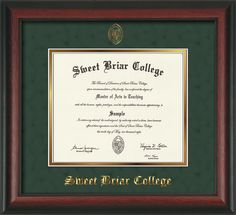 Sweet Briar College Diploma Frame with Rosewood Moulding and Sweet Briar seal and name embossing - Green Suede on Gold mat.  A unique and thoughtful graduation gift!