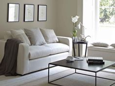 The Stella three seat sofa bed in Canvas pure Belgian linen, £1,770