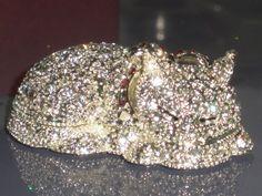 *Lazy Cat* Swarovski Crystals Jewelry Trinket/Pill Box