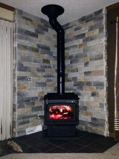 Wood burning stove :) so cozy!