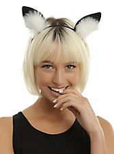 Black & White Fuzzy Fox Ear Headband,