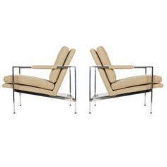 Milo Baughman Pair of Chrome Flat Bar Lounge Chairs