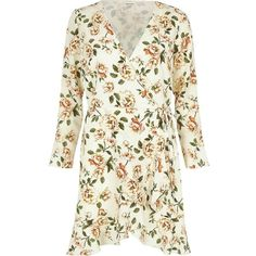River Island Cream floral print ruffle hem wrap dress ($34) ❤ liked on Polyvore featuring dresses, cream, occasionwear, sale, women, floral dresses, wrap dress, cream long sleeve dress, white long sleeve dress and white dress