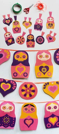 How to make a sugar skull garland for Day of the Dead - free templates! happythought.co.uk