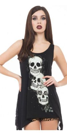 """Check out this deadly No Evil Tee. This long, loose fit sleeveless top has a graphic print on the front of three skulls enacting the """"see no evil, hear no evil, speak no evil"""" proverb. The back of this top is made from gorgeous sheer lace fabric with flowers and skulls and ribbon up corset detailing, it's girly and ghouly in one killer top."""