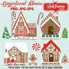 Gingerbread man and his Candy houses clipart perfect for your christmas cards, decorations, scrapbooking projects, gift tags and more. Description from etsy.com. I searched for this on bing.com/images