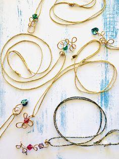 Bent Wire Pendants Swarovski Pendant, Wire Pendant, Pendant Necklace, Abstract Pattern, Jewelry Art, Pendants, Hand Painted, Gold, Handmade