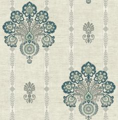 Striped Floral Damask Wallpaper in Teal from the Caspia Collection by Wallquest