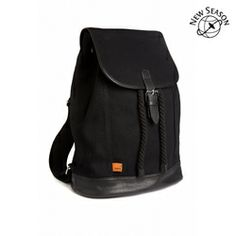 Whitby Rucksack | Black Canvas & Black Leather