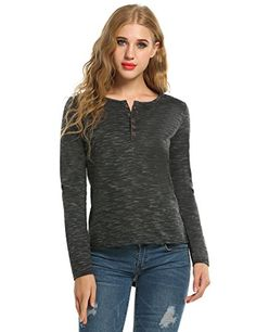 Henley Shirt for WomenMeaneor Womens Long Sleeve Cotton Loose Cansual Henley Tops TShirt Black L *** You can get additional details at the image link.(It is Amazon affiliate link) #liking