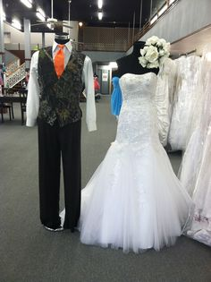 Beautiful Beaded Mermaid Wedding Gown By Marys Bridal And Camo Vest With Orange Tie Both Available