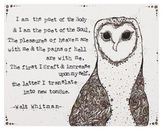 Original Illustration, Walt Whitman Quote - 8x10 Archival Print, Leaves of Grass, Literature Art