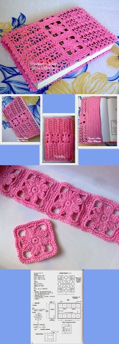 New Crochet Bookmark Pattern Book Covers Ideas Crochet Bookmark Pattern, Crochet Bookmarks, Granny Square Crochet Pattern, Crochet Flower Patterns, Crochet Stitches Patterns, Crochet Squares, Crochet Motif, Crochet Designs, Crochet Home
