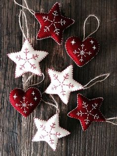 Dark Red Nordic Scandi Style Christmas Heart Decorations, Christmas Tree Decorations, Ornaments, Heart, Red and White Christmas Ornaments Nordic Christmas Decorations, White Christmas Ornaments, Christmas Hearts, Felt Decorations, Felt Ornaments, Christmas Fun, Beaded Ornaments, Beautiful Christmas, Glass Ornaments