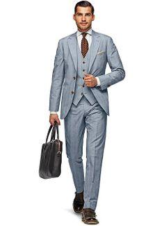 Suit Blue Check Havana P3561   Suitsupply Online Store