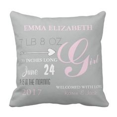 BABY & CO. Pink & Gray Nursery Baby Throw Pillow