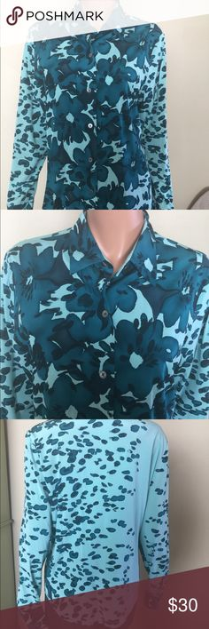 Linda Allard button blouse This gorgeous blouse is 97% silk and 3% rayon. Nice teal and dark green colors. In mint condition. A must have for the office. HL linda allard ellen tracy Tops Blouses