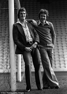 Football, January 1976, Liverpool and England team-mates Ray Clemence and Phil Neal pose at Anfield  (Photo by Bob Thomas/Getty Images)