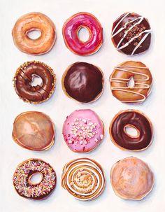 donuts dozen by Joel Penkman Watercolor Food, Watercolor Painting, Food Painting, Paintings Of Food, Realistic Paintings, Painting Art, Food Drawing, Donut Drawing, Cookies Et Biscuits