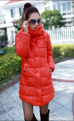 Buy New Warm Winter Women's Down Jacket Hooded Parka Coat Long Puffy Reddish orange - Blazers & Coats - Women's Apparel - Clothing / Accessories for Wholesale - Free Shipping