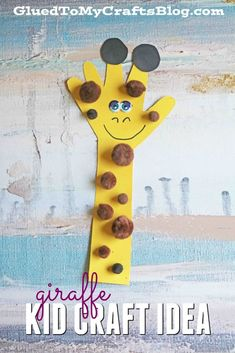 Paper handprint giraffe - kid craft idea hand crafts for kids, animal crafts kids, Giraffe Crafts, Animal Crafts For Kids, Paper Crafts For Kids, Projects For Kids, Art For Kids, Safari Crafts, Craft Projects, Unicorn Crafts, Jungle Crafts Kids