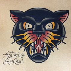 Old school/Traditional panther tattoo design by Antonio Roque. Traditional Butterfly Tattoo, Traditional Panther Tattoo, Traditional Tattoo Design, Traditional Tattoo Flash, Kunst Tattoos, Neue Tattoos, Body Art Tattoos, Sleeve Tattoos, Ship Tattoos